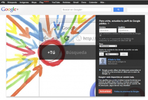 Pantalla de registro en Google Plus