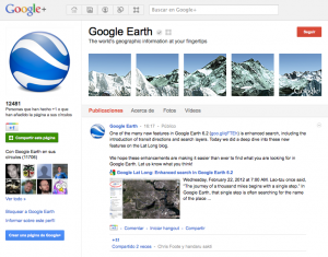 página Google Earth en Google plus