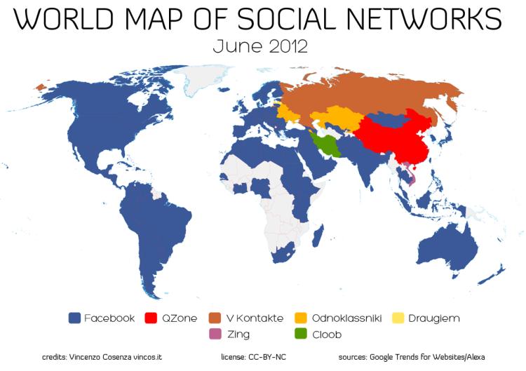El nuevo mapa de Redes Sociales en el mundo o el dominio casi total de Facebook